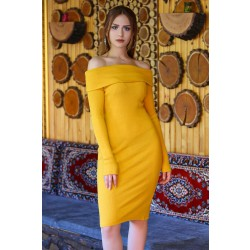 Degaje Yaka Elbise Sarı - 4456.716. - y.s