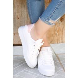 Kalın Taban Spor Ayakkabı Beyazpudra - 4444.264.