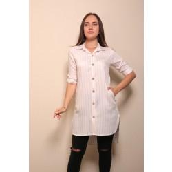 Gömlek Yaka Çizgili Tunik Beyaz/Pudra