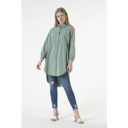 Gömlek Yaka Uzun Tunik Mint Yeşili