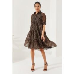REYON Kadın Astarlı Yarım Kol Uzun Şifon Elbise Siyah