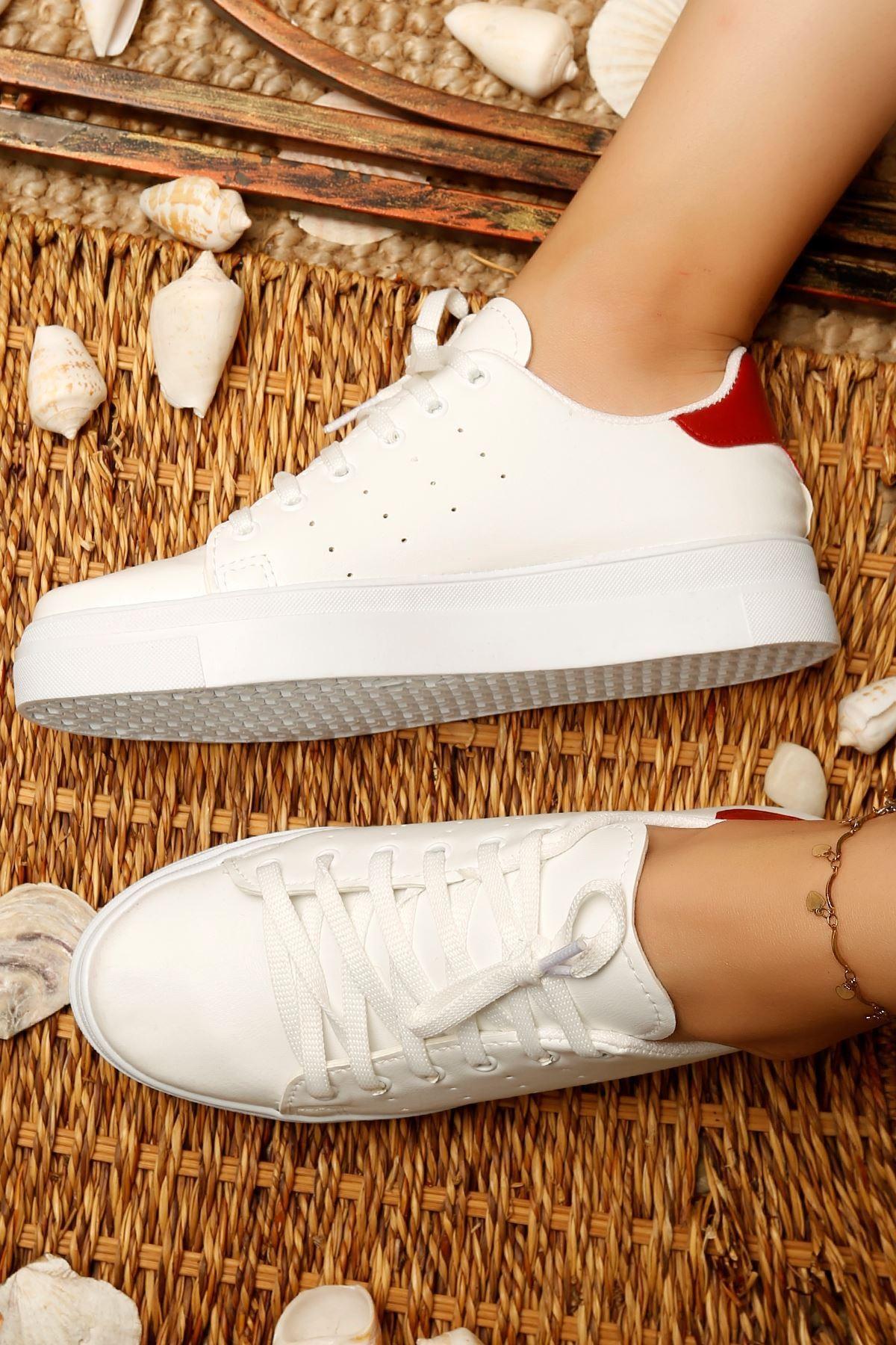 Kalın Taban Spor Ayakkabı Beyazkırmızı - 4444.264.